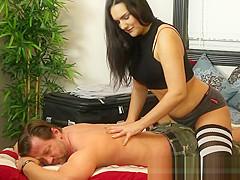 Gorgeous massage babe tugging and sucking