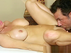 MILF gets pussylicked on spycam in a parlor
