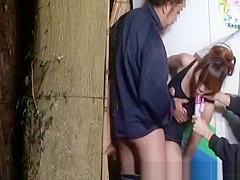 Girl glued in public used