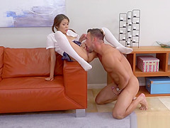 Asian hottie Sami Parker rides dads giant cock