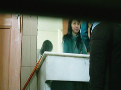 Hidden pissing cam of hairy Asian Pussy squatting on toilet