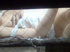 Cute asian babe rubbing