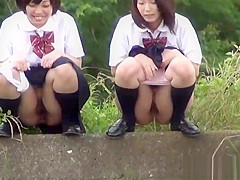 Japanese teenagers urinating in public