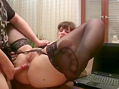 Big ass office slut gets anal penetration