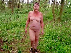 Sexy Matures Naked Slut Walk Through the Woods