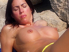 Milf with Fake Titts on Beach