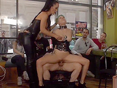 Mistress in leather makes slave fuck