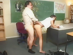 Naughty Brunette School Girl Learns About The Number 69