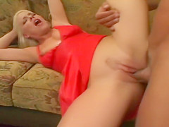 Busty Missie Monroe In Red Gets Drilled