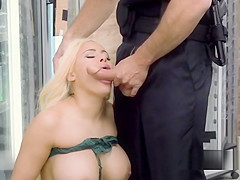 Huge tits blonde takes cop anal in shop