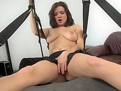 Cute Babe Julie Hops In The Sex Swing With Toy