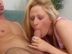 Young Blonde Whizzes And Fucks A Huge Cock