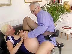 Blonde Babe In Uniform Gets Plowed By Old Man