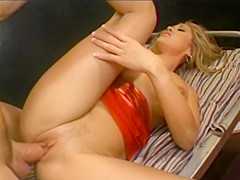 Hot Blonde Babe With Great Tits Rides Dude