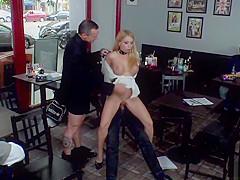 Huge tits slave gets dp in public bar