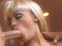Big-breasted Blonde Milf Pleasures Two Horny Boys On A Sofa