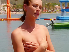 British BABE goes TOPLESS on holiday!