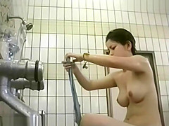 Outdoor bath voyeur scene