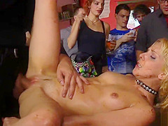 Food fetish and dp fuck in public bar
