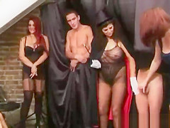 Dirty magic trick gets real nasty with cock jerkers in the room
