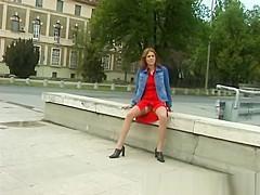 cute girl pissing in public