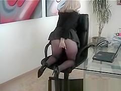 Secretary Slut Wearing Seamless Black Pantyhose Fingers Pussy at Her Desk