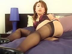 nylon stockings covered pantyhose model