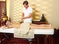 Tattooed babe sucking dick during massage