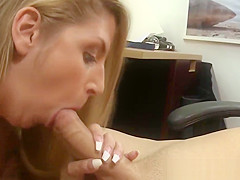 Pawnshop babe sucks before cowgirl riding guy