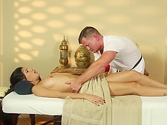 Stripped babe getting massaged and groped