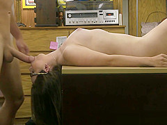 Amateur pawnshop teen sucks before doggystyle