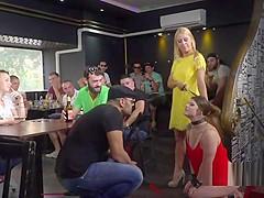 Busty brunette sub crawl in public bar