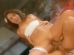 Cute Brunette Rides A Cock Like A Pogo Stick