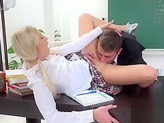 Sweet bookworm was seduced and plowed by her elderly tutor