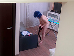Czech cosplay teen - Naked ironing. Voyeur porn video