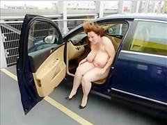 Big tit amateur car park public exposure