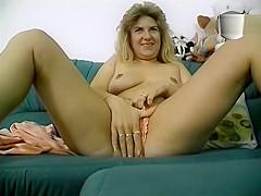 Old lady masturbates.