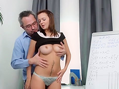 Ideal bookworm is tempted and reamed by her older teacher