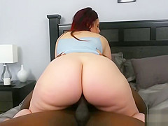 Curvy redhead gets big black dick