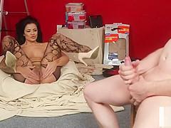 Stockinged british voyeur instructing her sub
