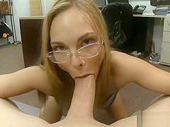 Slim babe with glasses boned by pawn guy
