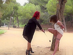 Petite Euro slave disgraced in the park
