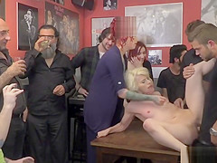 Blonde spanked and rough gangbanged