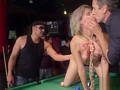 Mistress makes sub fuck in pool bar