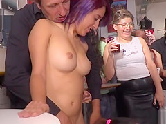 Painted huge tits blonde in public