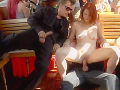 Redhead slave anal fucked at tourist boat
