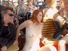 Redhead Euro slave dominated on a boat