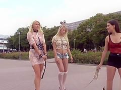 Brunette mistress disgraces two blondes in public