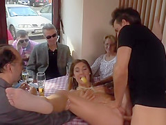 Petite German babe fucked in restaurant