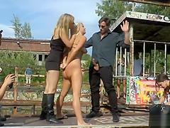 Anal blonde slut in group in public